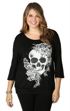 Deb Shops plus size top with three quarter sleeves, slash back and skull screen $18.67
