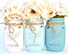 Painted & Distressed Mason Jar - Ombre Blue | Decorations