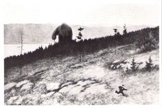 Theodor Kittelsen - Troll On The Mountain Moores Theodore Kittelsen, Fairy Land, Fairy Tales, Most Popular Artists, Forest Mountain, Gothic Horror, Cryptozoology, Nature Paintings, Occult