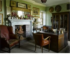 Room of the Day ~ double desks, worn leather chair, bust in fireplace, wood bookcase, plentiful art - Hanham Court English Interior, English Decor, Romantic Homes, Elegant Homes, English Country Cottages, Classic House, Office Interiors, Home Interior Design, Home Office