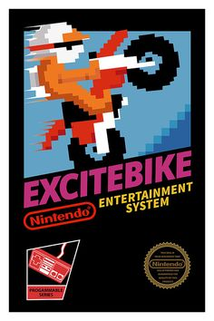 Excitebike Poster Nintendo 8bits NES Video Game by geekyprints.com