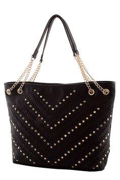 96bcedb5308d Braided Chevron Studded Tote Bag - Cosiitas Cute Handbags