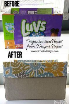 From diaper box to beautiful organizer box in a few simple steps.  http://www.hometalk.com/l/FGN