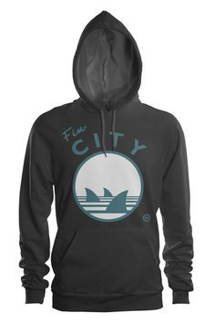 FIN CITY HOODIE - for your San Jose Sharks fans!  #sjsharks #hockey #nhl #sharks  Get 15% off our Made in the Bay Area shirts at www.thedhco.com with discount code PINIT