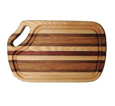 Beautiful cutting board made from hardwoods. This board has a routed groove to retain meat juices. Each board is a unique blend of hardwoods that may include oak, cherry, walnut, padouk and ash. Size is 16 x 10 inches Made in U.S.A. Maine