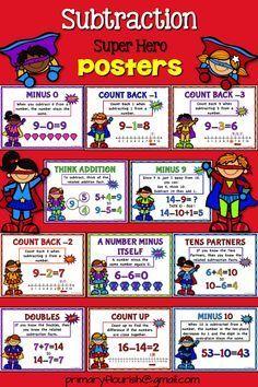 Math Strategies Posters, Mental Math Strategies, Math Resources, Math Activities, Superhero Classroom, Classroom Themes, Teaching Addition, Math Wall, Math Fact Fluency