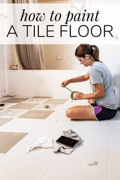 Did you know you can PAINT tile floor that you don't like! Learn all about this special paint meant for tile floor and how you can totally transform your space for just the cost of paint. Flooring Tools, Diy Flooring, Bathroom Flooring, Flooring Ideas, Painting Tile Floors, Painted Floors, Paint Meaning, Blogger Home, Plumbing Problems