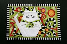 Mug Rug Cat paper pieced quilt block Fabric: Happy Fabric Postcards, Fabric Cards, Small Quilts, Mini Quilts, Marie Suarez, Paper Pieced Quilt Patterns, Paper Patterns, Miniature Quilts, Cat Quilt