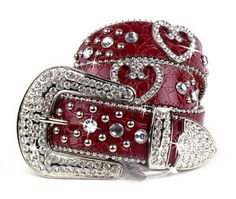 Red Bling Belts for Women | Western Red Leather Rhinestone Crystal Heart Belt s M | eBay