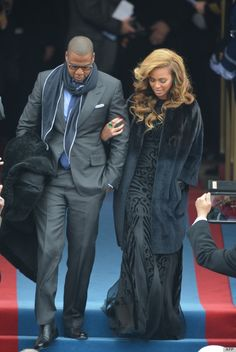 Inauguration 2013! Jay Z in Tom Ford and Beyonce in a Pucci dress, Christian Dior coat, and Lorraine Schwartz emerald earrings