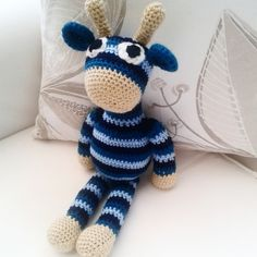Giraffe teddy in shades of blue. Great baby shower gift,  nursery decoration.  £22.50