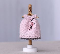 4 inches doll  Miniature crocheted  dress with embroidery for Kelly doll. Doll clothing, crochet doll pink dress. Dolls outfit. by Creativhook on Etsy
