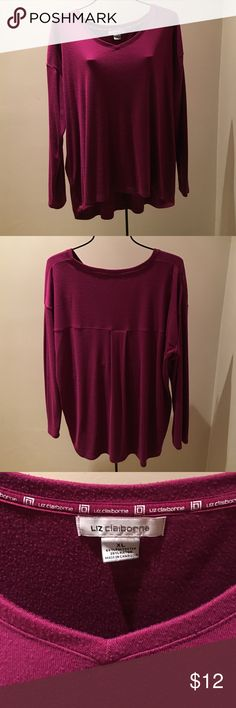 Liz Claiborne Top Nice long sleeve super comfy top with hi low bottom Tops Blouses