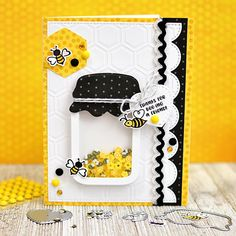 Bumble Bee jar shaker card! Make the cutest handmade bug themed cards, paper crafts, and shaker cards with this new kit from Queen and Company, Ginger Williams Pot Mason, Mason Jars, Mason Jar Cards, Love Jar, Honey Bee Stamps, Bee Cards, Shaker Cards, Creative Cards, Scrapbook Cards