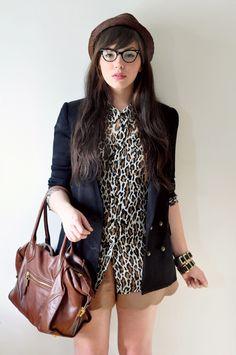 leopard, beret, glasses, blazer. all of it!