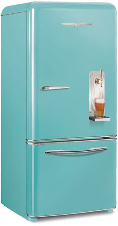 Keg fridge with a 1950's vibe. Fun option for the man cave