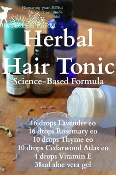 "In this Scottish study the essential oils were used with carrier oils. Patients self-administered the herbal hair loss treatment, massaging the essential oil treatment into the scalp for a minimum of 2 minutes.      ""The active group received the essential oils: Thyme vulgaris (2 drops, 88 mg), Lavandula agustifolia (3 drops, 108 mg), Rosmarinus officinalis (3 drops, 114 mg), and Cedrus atlantica (2 drops, 94 mg). These oils were mixed in a carrier oil, which was a combination of jojoba, 3…"