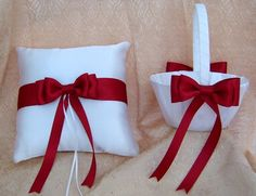 Claret Red Wedding, Flower Girl Basket and Ring Bearer Pillow Set