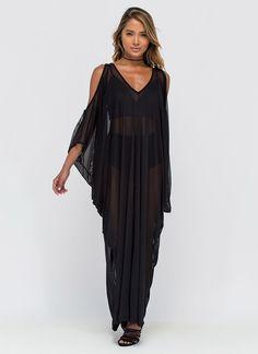 5985ba20cc Chic  N Sheer Plunging Caftan Maxi Dress Popular Dresses