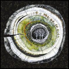 Lorraine Roy - Heartwood - Poplar circular textile art with trees Art Fibres Textiles, Textile Fiber Art, Textile Artists, Fiber Art Quilts, Landscape Art, Landscape Edging, Landscape Paintings, Landscape Photography, Contemporary Landscape