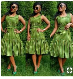 Top Green shweshwe dresses for 2018 - Reny styles African Dresses For Women, African Print Dresses, African Print Fashion, Africa Fashion, African Fashion Dresses, African Attire, African Wear, African Women, African Prints