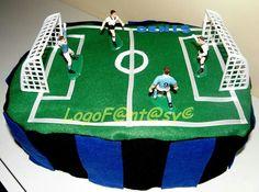 Soccer diaper cake - campo calcio torta di pannolini - inter
