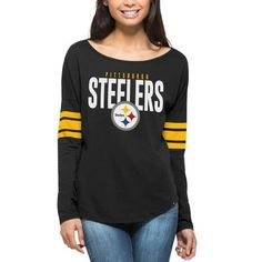 Women's Pittsburgh Steelers '47 Black Courtside Long Sleeve T-Shirt
