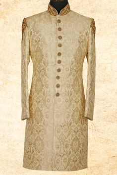 Gold Brocade Resham Embroidere Wedding lsmail A Sherwani For Men Wedding, Wedding Dresses Men Indian, Sherwani Groom, Mens Sherwani, Wedding Dress Men, Wedding Dress Patterns, Wedding Suits, Indian Men Fashion, Mens Fashion Wear