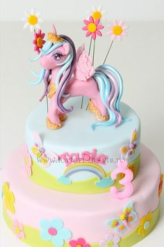 Birthday Kids Cake Girls My Little Pony 55 Ideas Girly Cakes, Baby Cakes, Cute Cakes, Cupcake Cakes, Mlp Cake, Kid Cakes, Yummy Cakes, My Little Pony Cake, My Little Pony Birthday Party