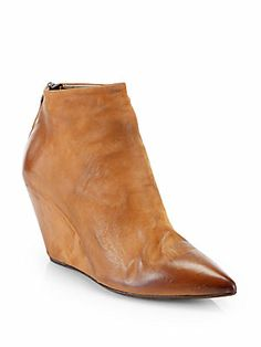 Elisanero Burnished Leather Wedge Ankle Boots - can wait to put then on