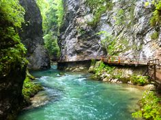 Just outside of Lake Bled in Slovenia, the Vintgar Gorge is a great day trip, with bright green waters and a 1600 metre network of wooden walkways and bridges to explore. Wooden Walkways, Lake Bled, Bright Green, Slovenia, Day Trip, Over The Years, Waterfall, River, Explore