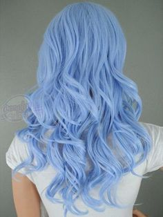 Dye your hair simple & easy to pastel blue hair color - temporarily use baby blue hair dye to achieve brilliant results! DIY your hair light blue with hair chalk Light Blue Hair Dye, Dyed Hair Blue, Hair Color Blue, Dye My Hair, Periwinkle Hair, Hair Colors, Colored Hair, Purple Hair, Blonde And Blue Hair