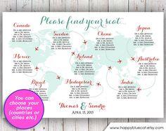 Hochzeit, Sitz Chart - EILDIENST - Weltkarte Flugzeug reisen Thema Hochzeit Sitzmöbel Chart Empfang Poster - digitale Druckvorlage HbC135