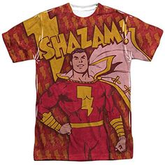 DC+Comics+Retro+Shirt Products : DC Comics Shazam Bolts Mens Sublimation Shirt