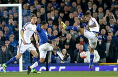 Aaron Lennon and Kenedy battle for the ball: Everton 2-0 Chelsea - 12 Mar 16