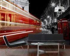Fototapete Rote Telefonzelle in London 154 cm x 200 cm East Urban Home London Bus, London Night, Geometric Wallpaper Murals, Wall Wallpaper, Wallpaper Designs, Modern Furniture Stores, Telephone Booth, Heathrow Airport, London Calling
