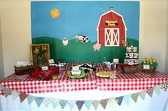 Barnyard/Farm birthday party: food table