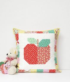 Sweet Apples Baby Quilt and Pillow Pattern by ellis & higgs with Elea Lutz's Apple Farm collection for Penny Rose Fabrics.