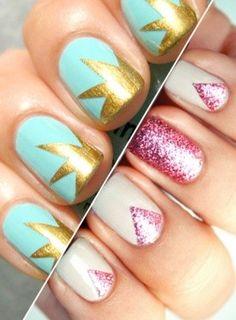 image of Zig Zag Nail Art ♥ Glitter Mixed Prints Nail Art & Design