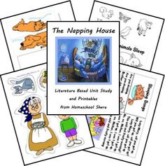 The Napping House literature based unit study and printables for preschool; learn about houses, shapes, nocturnal animals, sequencing, the letter N, and more! Free from Homeschool Share
