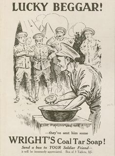 WW1 Ad. Soap advertisements were a common feature in a war that was notable for its dirt, mud, and lice, and many companies vied for business by using patriotic and war themes to push their products. http://library.brown.edu/exhibits/sphere/Wrights_SoapNo45.jpg