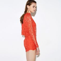 HDY Haoduoyi Fashion Solid Red Romper Women Long Sleeve Stand Neck Female Playsuits Sexy Slim Loose Lace Hollow Out Romper