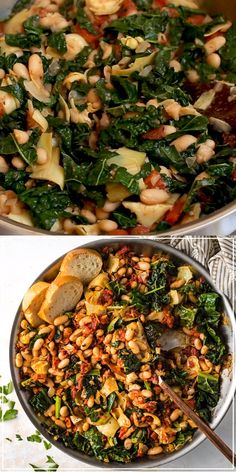 Spice up your dinner routine with this easy Tuscan white bean skillet. Casually vegan, ready in under 30 minutes, and absolutely perfect with a crusty loaf of bread! Veggie Dishes, Veggie Recipes, Whole Food Recipes, Cooking Recipes, Healthy Recipes, Super Food Recipes, Recipes With Kale, Vegan Bean Recipes, Soup Recipes