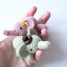 tiny crochet ele  phants - free pattern