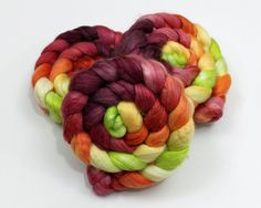 Merino/ Angora/ Cultivated Silk roving - hand painted spinning fiber