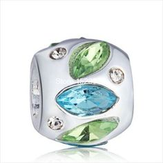S925 Sterling Silver Green Rinestone Charm Bead ..Threaded..