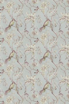 Dovedale Vintage Blue (2901/589) - Prestigious Fabrics - Exotic birds and butterflies in a pretty multi flower blossom tree design. Shown in the pink, green and grey on blue. Cotton linen mix. Please request sample for true colour and texture.