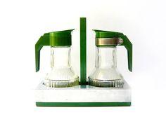 Vintage olive green cruet, Avocado vinegar and oil bottles set, Plastic, stainless steel and glass, 1970s