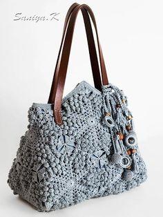 """Сумки и аксессуары ручной работы. Ярмарка Мастеров - ручная работа. Купить Сумка бохо """"Блюз"""" вязаная. Handmade. Сумка Love Crochet, Crochet Hooks, Crochet Baby, Knit Crochet, Crochet Handbags, Crochet Purses, Handmade Handbags, Handmade Bags, Crochet Shell Stitch"""