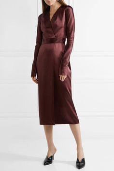 Dion Lee - Wrap-effect Silk-satin Midi Dress - Burgundy - UK14